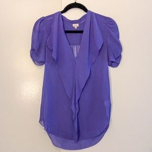 Aritzia T Babaton Purple Short Sleeve Silk Blouse